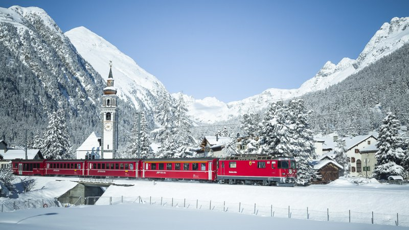 The Rhaetian Railway near Bever in the Engadin region.